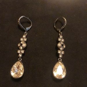 Givenchy Art Deco silver tone hanging earrings